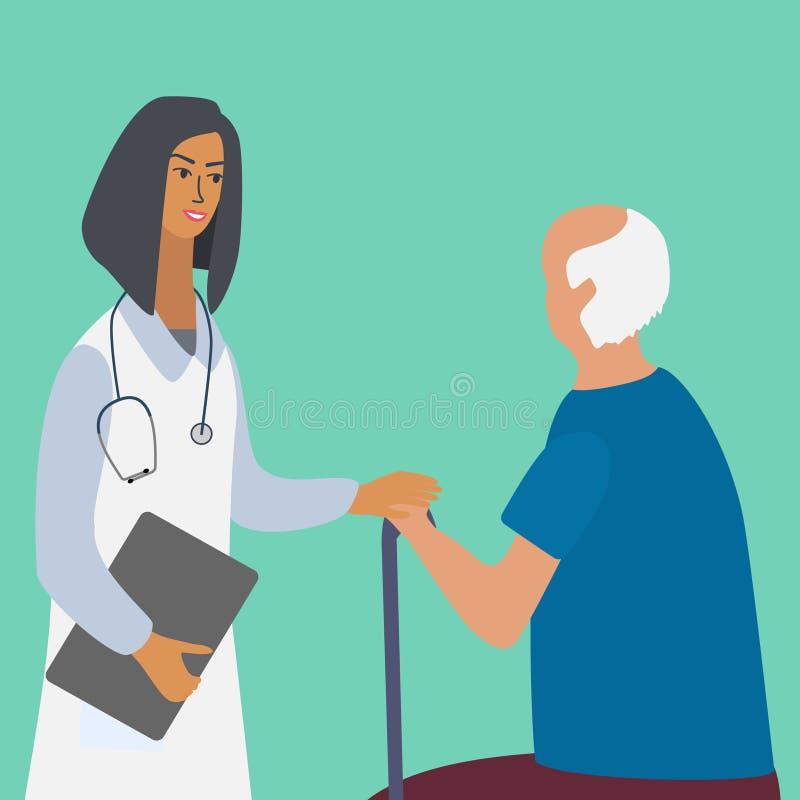 Doctor visitando y consultando a un anciano Atención médica a ancianos con médicos y pacientes ilustración del vector