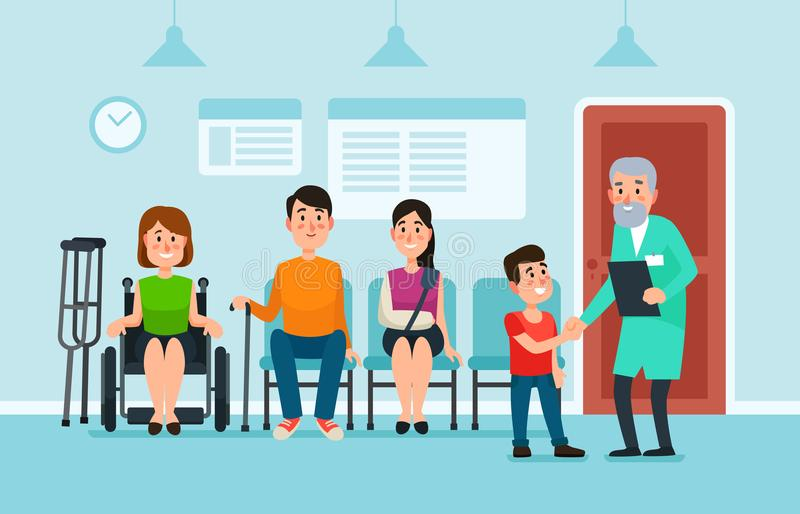 Doctor waiting room. Patients wait doctors and medical help on chairs in hospital. Patient at busy clinic hall vector stock illustration