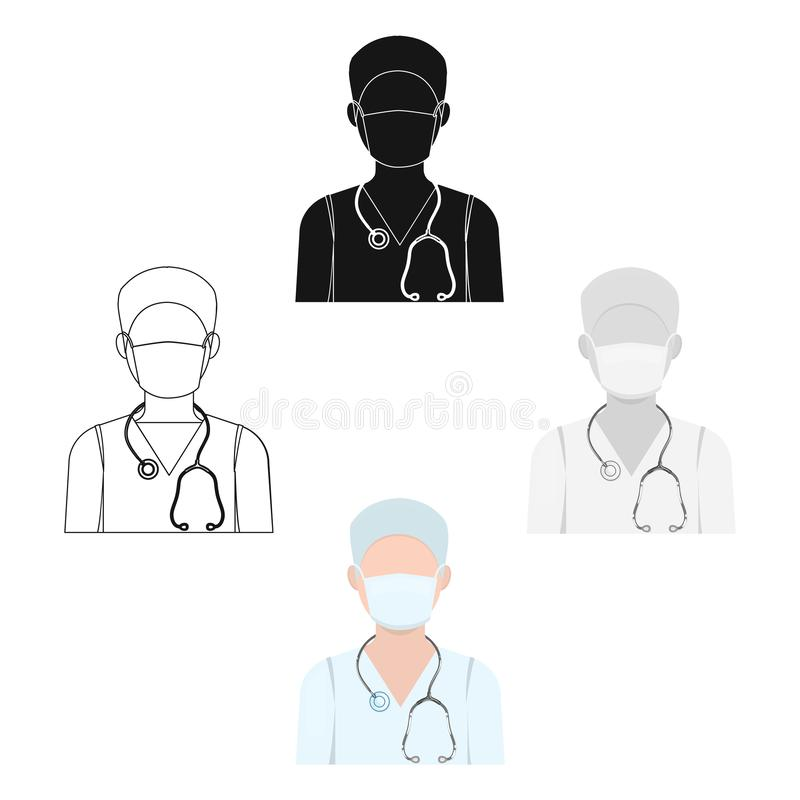 The doctor is wearing a face mask with a phonendoscope. Medicine single icon in cartoon style vector symbol stock royalty free illustration