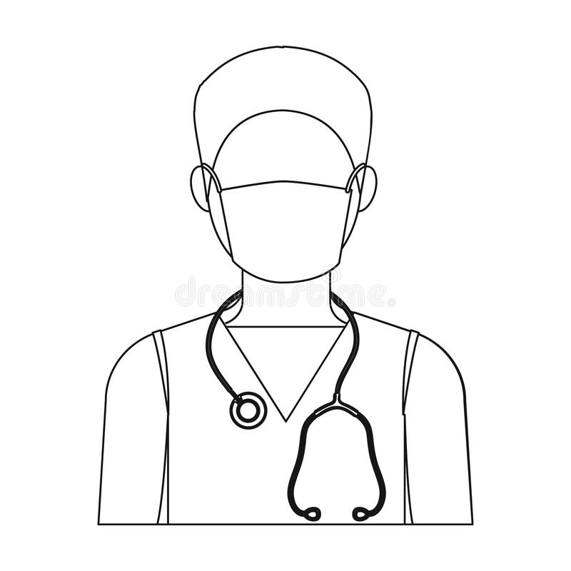 The doctor is wearing a face mask with a phonendoscope. Medicine single icon in outline style vector symbol stock stock illustration