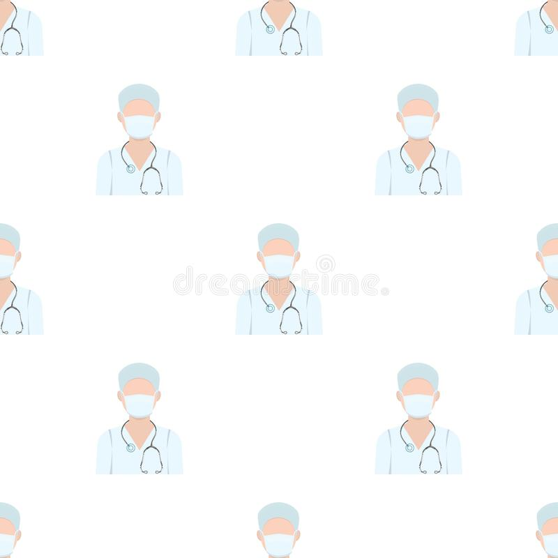 The doctor is wearing a face mask with a phonendoscope. Medicine in vector symbol stock vector illustration