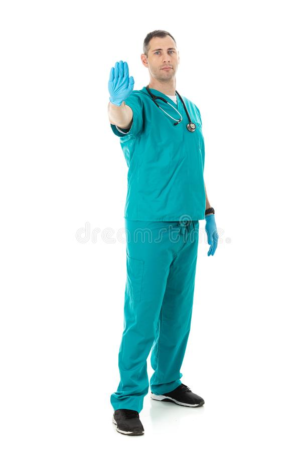 Doctor: Wearing Vinyl Safety Gloves During Work royalty free stock images