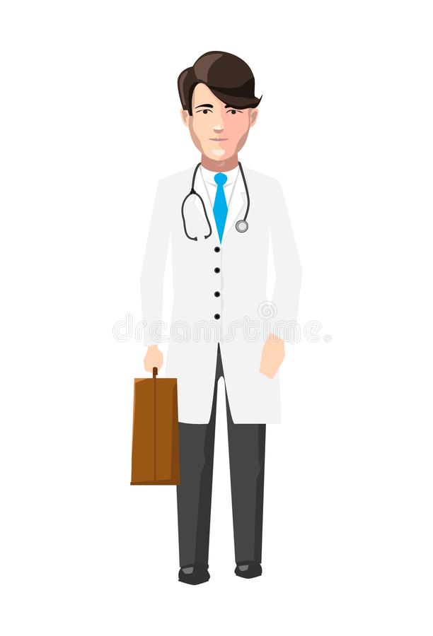 Doctor in white robe with medicine case and stroboscope, flat character on white vector illustration