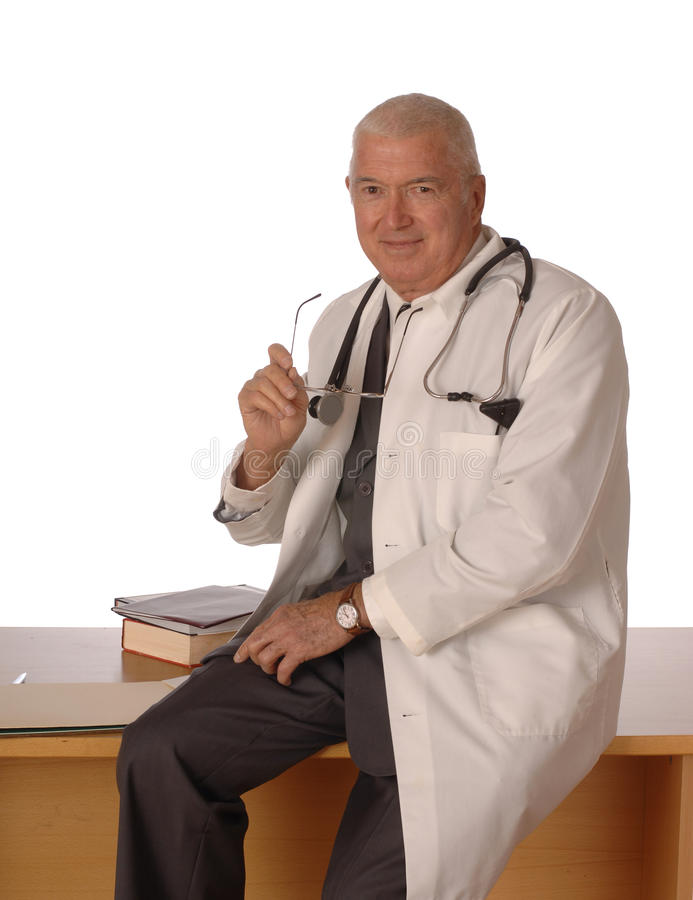 Doctor on White Vertical royalty free stock photography