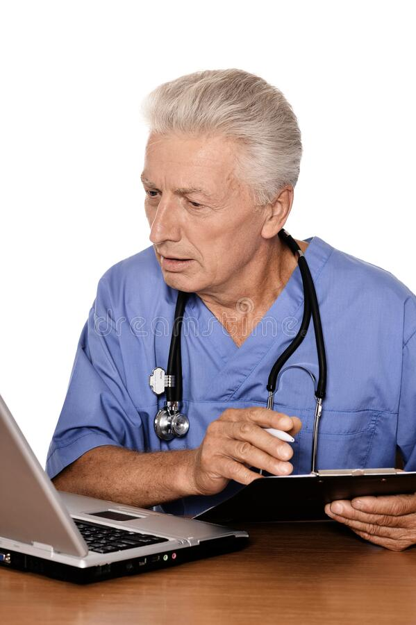 Free Doctor With A Laptop On White Background Stock Image - 180389251