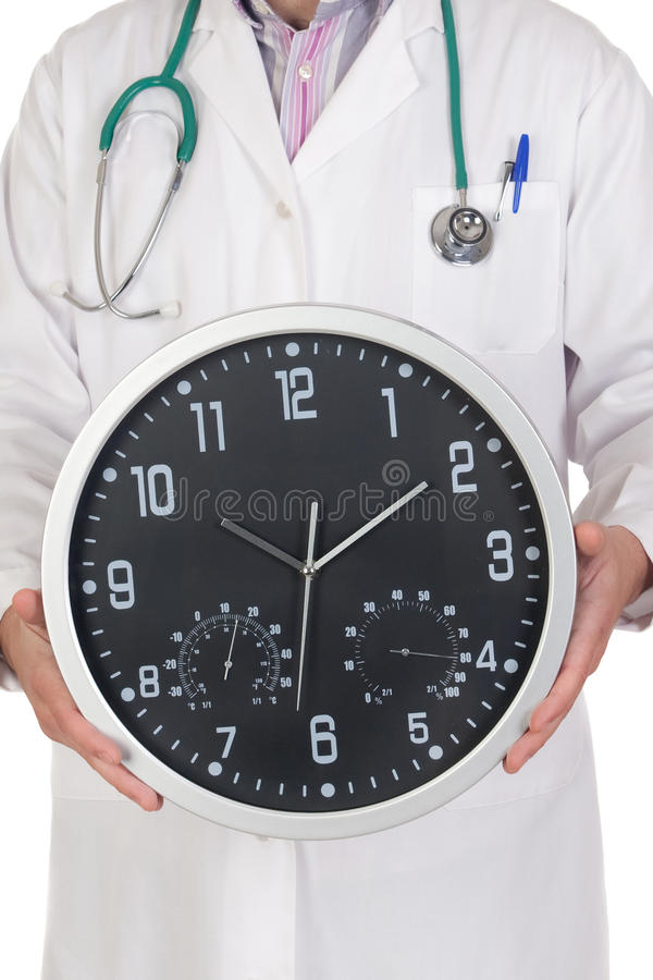 Free Doctor With Big Clock Stock Photography - 12815032
