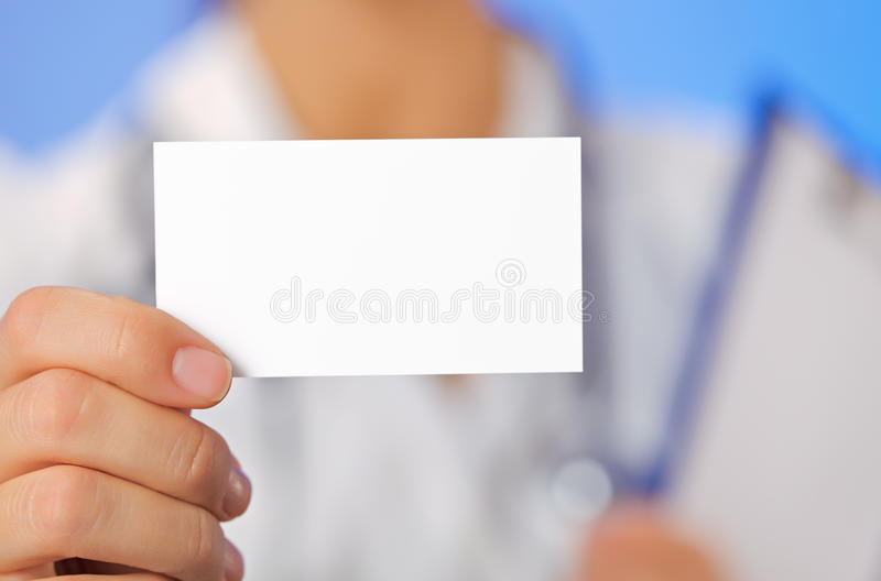 Download Doctor (woman) Holding Blank Business Card Stock Image - Image: 24125741