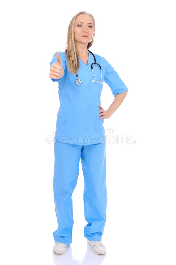 Doctor woman or nurse isolated over white background. Cheerful smiling medical staff representative. Medicine concept royalty free stock photo