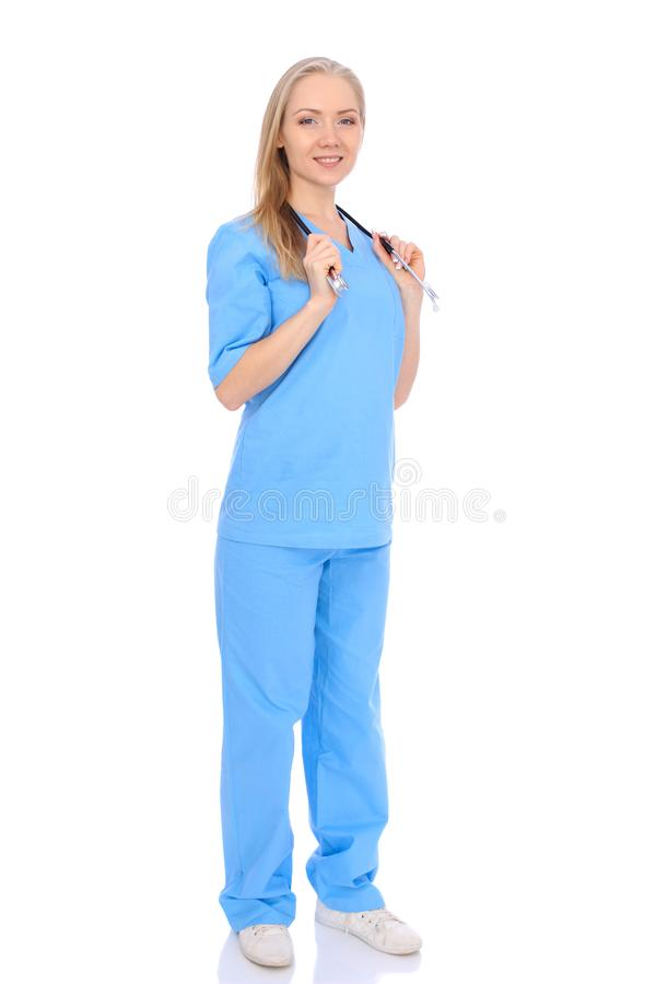 Doctor woman or nurse isolated over white background. Cheerful smiling medical staff representative. Medicine concept royalty free stock image
