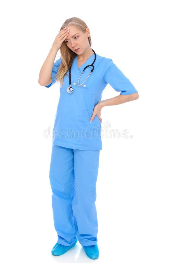 Doctor woman or nurse isolated over white background. Cheerful smiling medical staff representative. Medicine concept stock photos