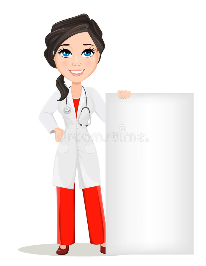 Doctor woman with stethoscope. Cute cartoon smiling doctor character in medical gown standing near big blank banner. vector illustration