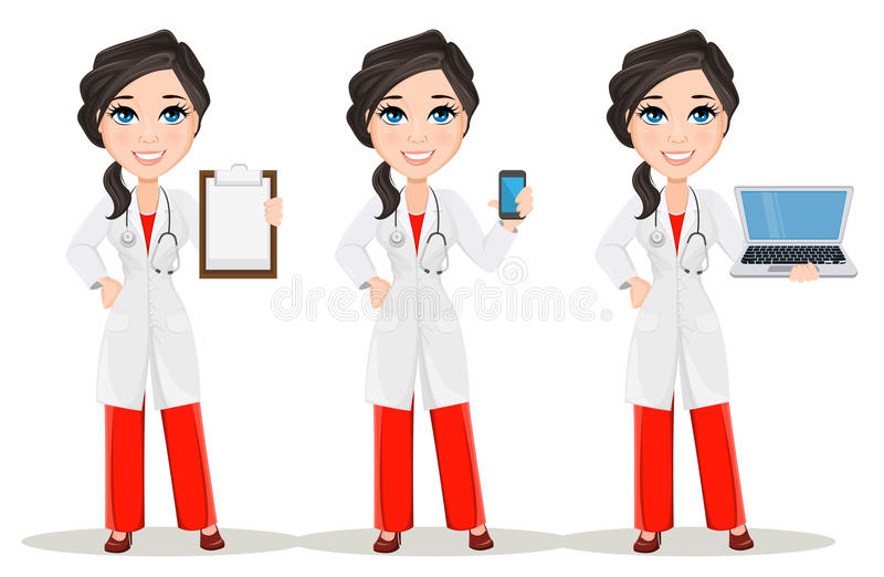 Doctor woman with stethoscope. Set. Cute cartoon smiling doctor character in medical gown. Holding smartphone, holding clipboard and holding laptop. Vector royalty free illustration