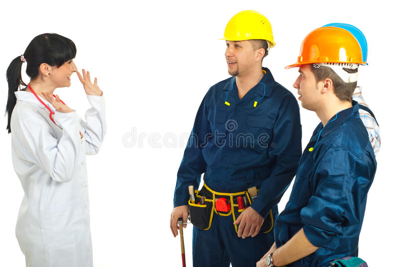 Doctor Woman Talking With Workers Team Stock Photography