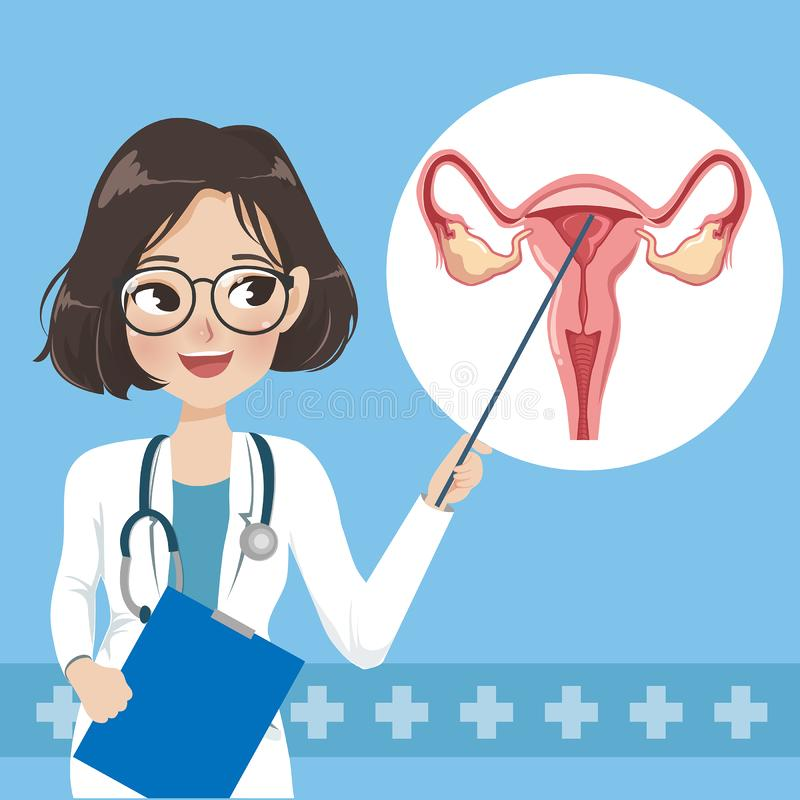 Doctor woman teaches and elements of the human uterus stock illustration