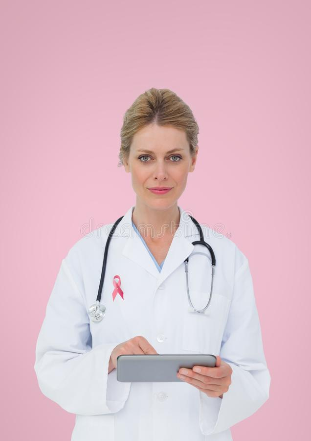 Free Doctor Woman With Breast Cancer Awareness Ribbon Stock Photo - 99220390