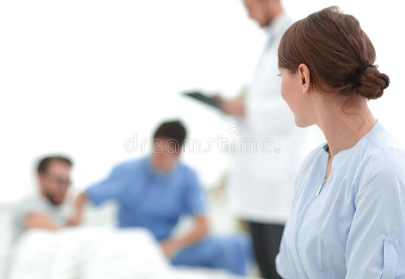 Doctor woman looking on copy space. Doctor women looking on copy space.photo with space for text royalty free stock photos