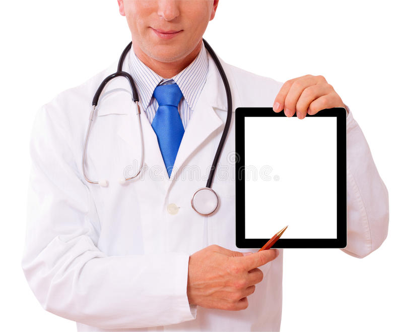 Doctor working with tablet royalty free stock photo