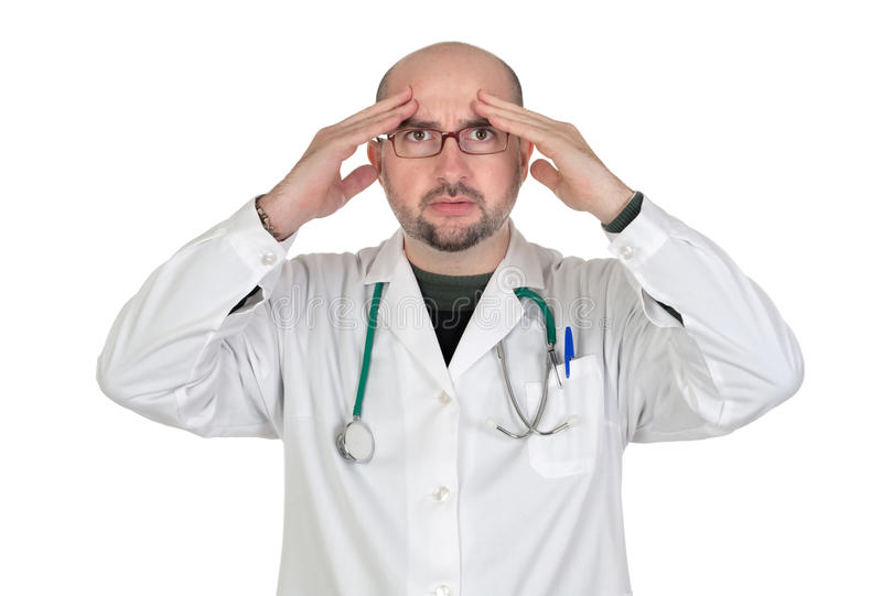 Doctor with worried gesture royalty free stock images
