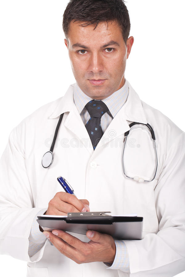 Doctor writing prescriptions stock images