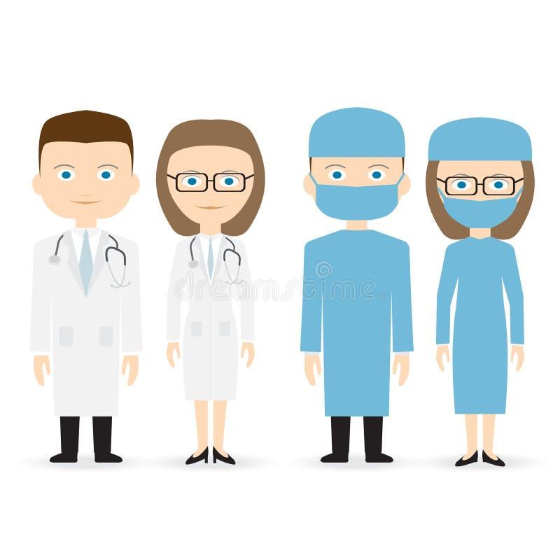 Doctor y cirujano stock de ilustración
