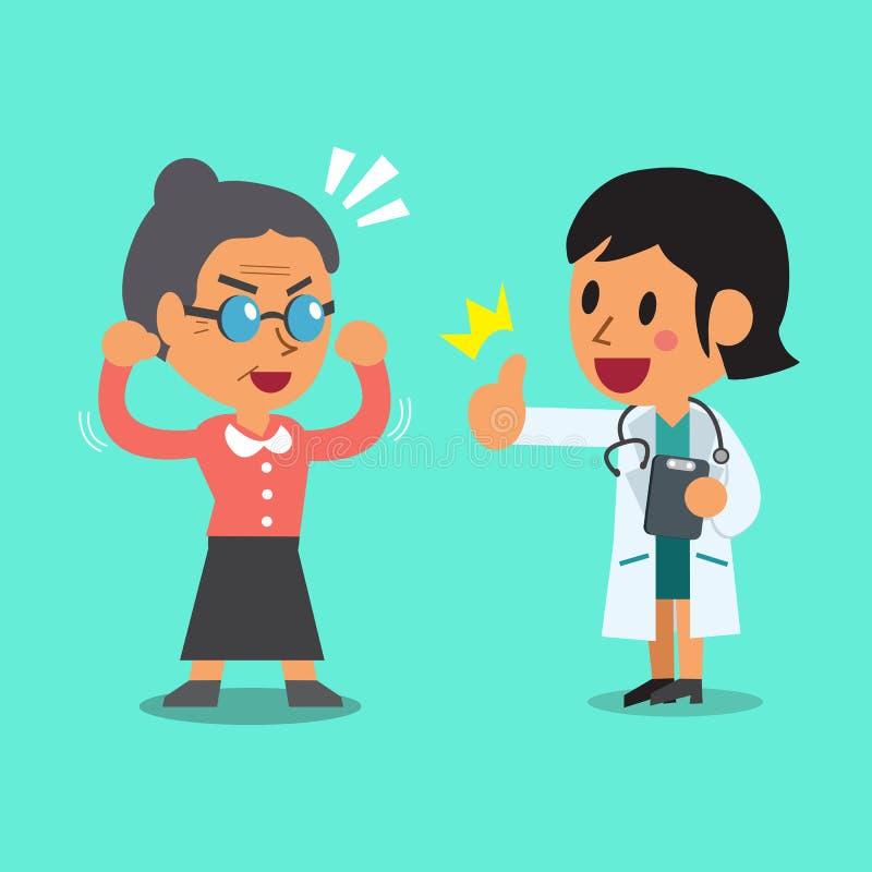 Doctor y mujer mayor de la historieta stock de ilustración