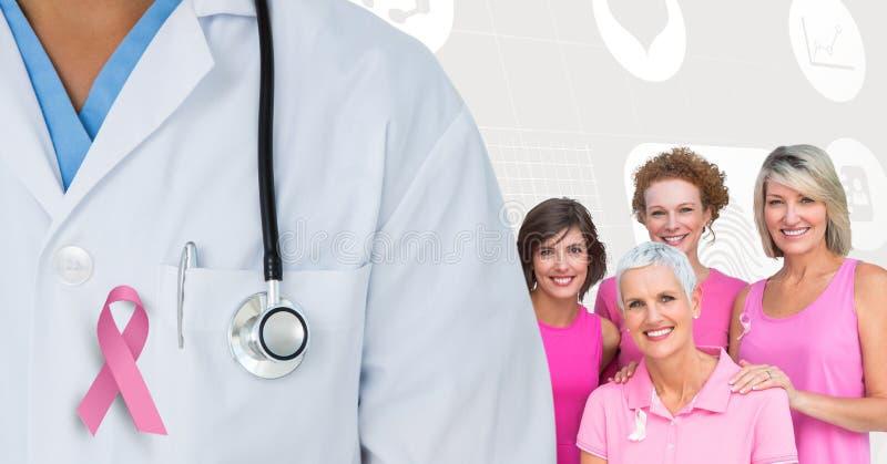 Doctor y mujeres del cáncer de pecho con las cintas rosadas de la conciencia stock de ilustración