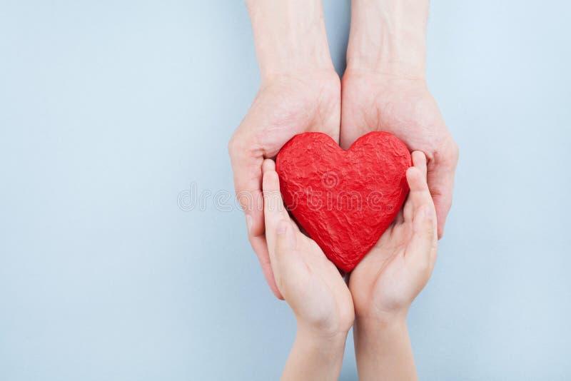 Doctor y niño que llevan a cabo el corazón rojo en la opinión superior de las manos Relaciones de familia, atención sanitaria, co imagenes de archivo