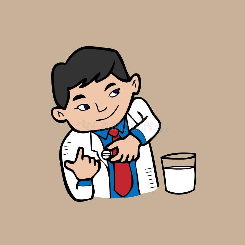 Doctor y píldora stock de ilustración