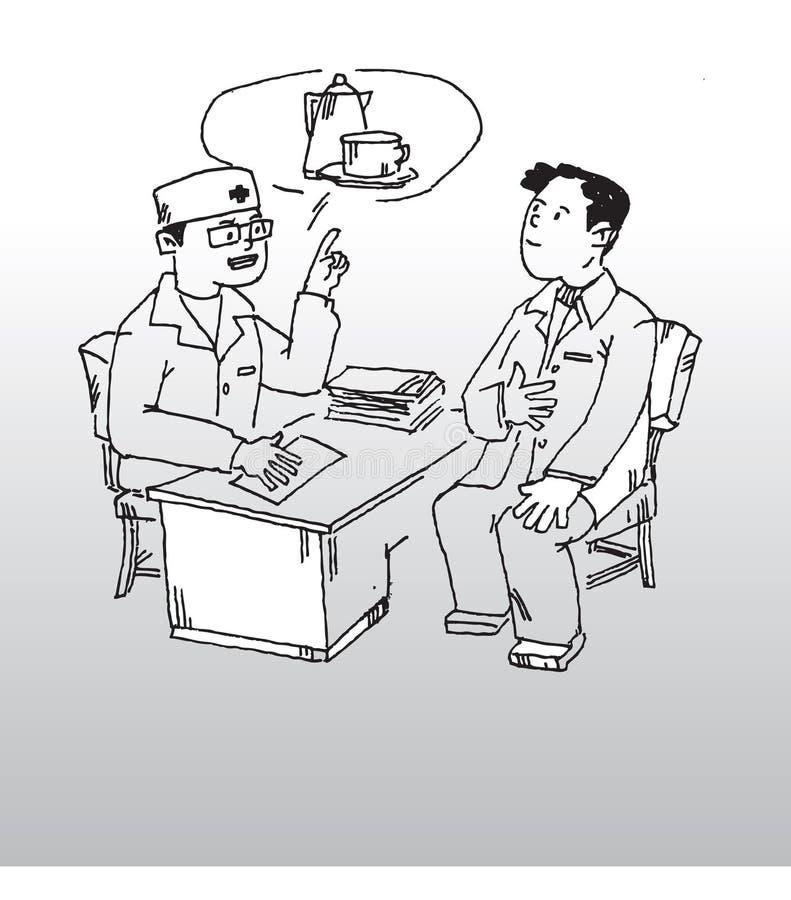 Doctor y paciente stock de ilustración