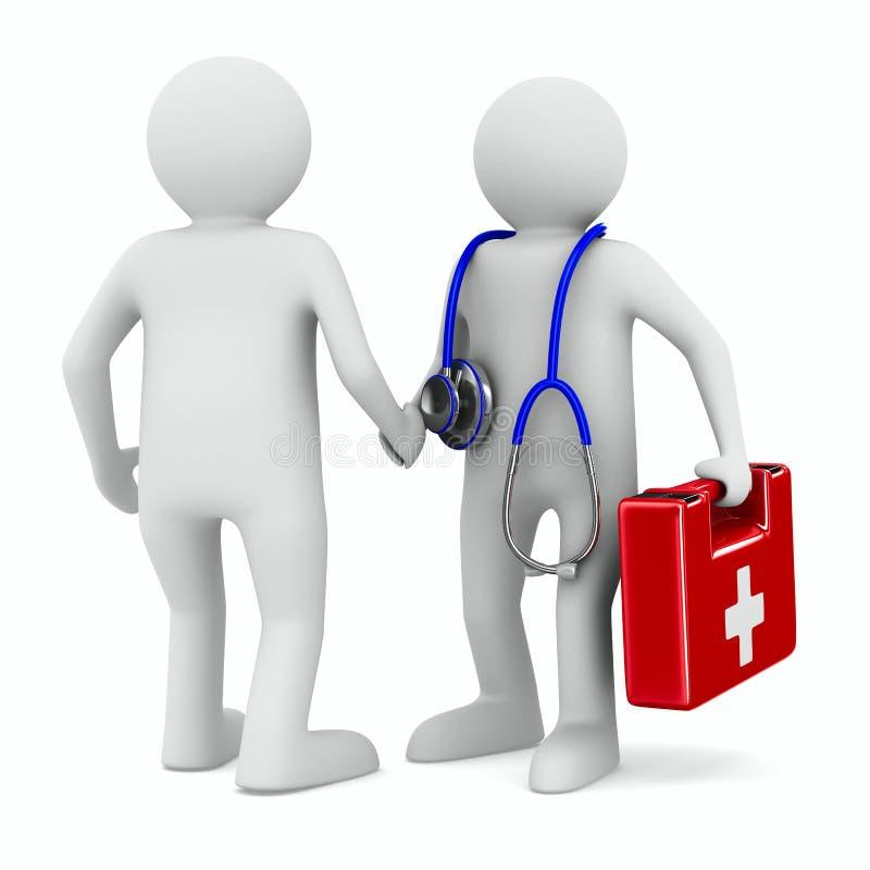 Doctor y paciente en el fondo blanco stock de ilustración