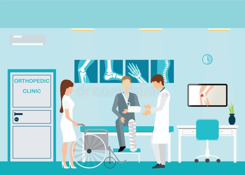 Doctor y paciente en las clínicas ortopédicas y los centros de diagnóstico ilustración del vector