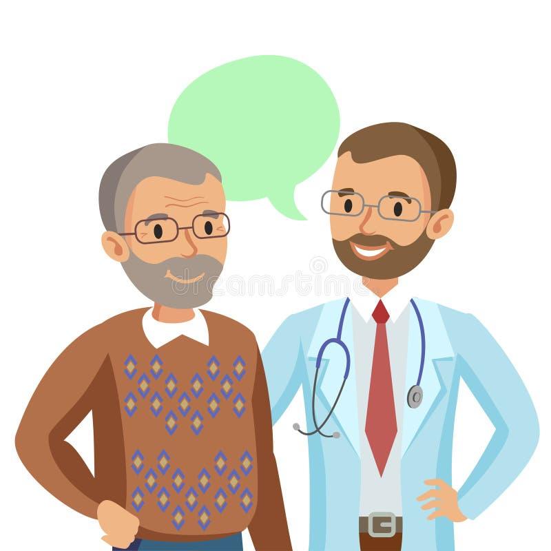 Doctor y paciente mayor Hombre que habla con el médico Vector ilustración del vector