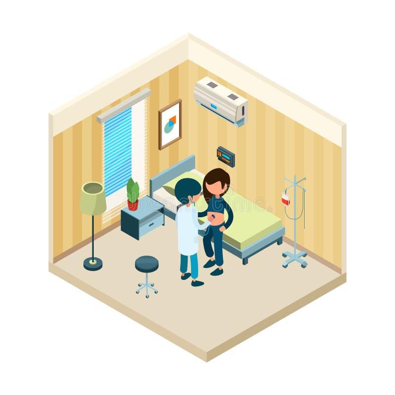 Doctor y paciente Situación del médico cerca de la cama del paciente en concepto isométrico del vector de la salud del tratamient stock de ilustración