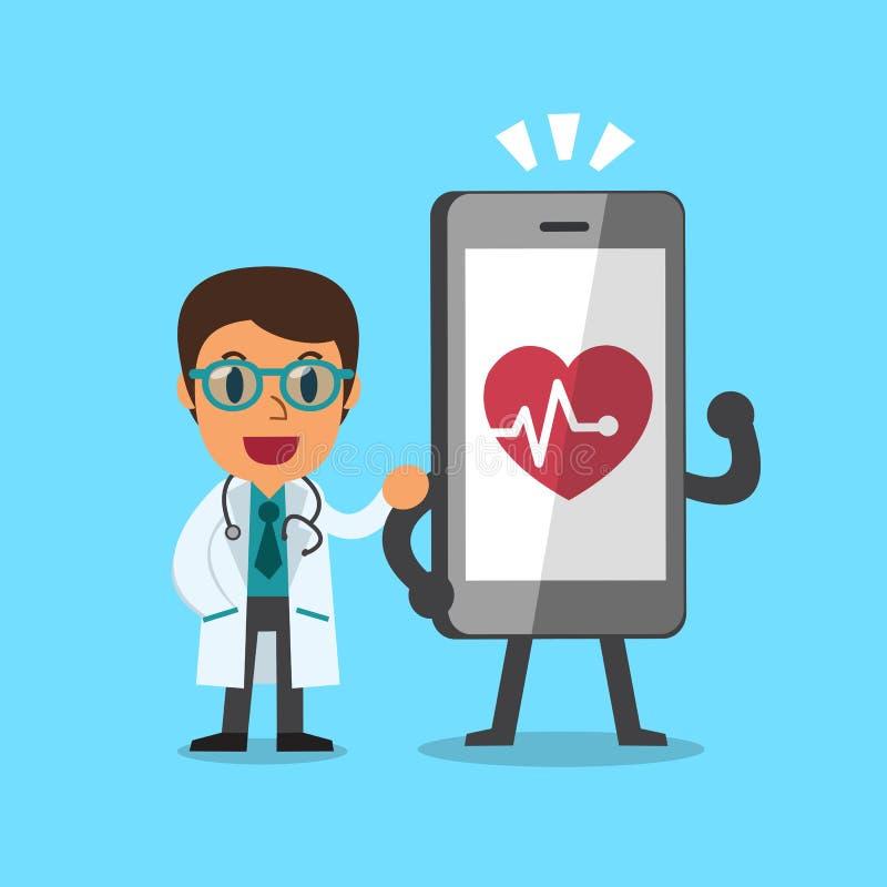 Doctor y smartphone de la historieta ilustración del vector