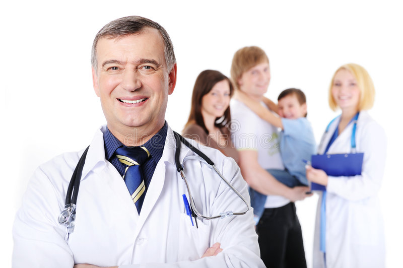 Doctor and the young happy family with little son royalty free stock photography