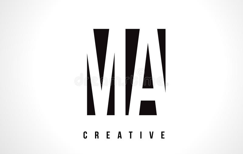 doctorandus in de letteren M A White Letter Logo Design met Zwart Vierkant royalty-vrije illustratie