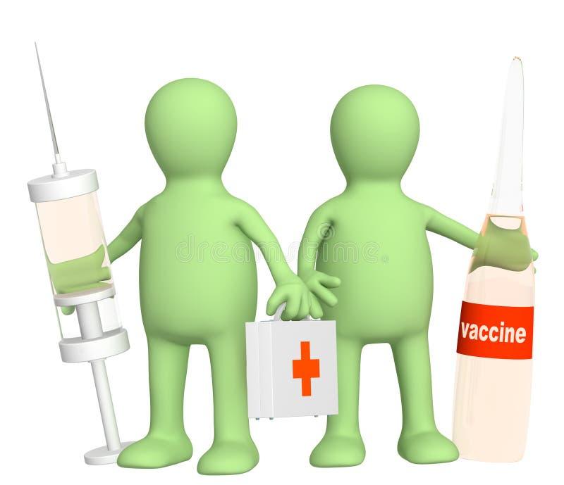 doctores 3d con una vacuna ilustración del vector