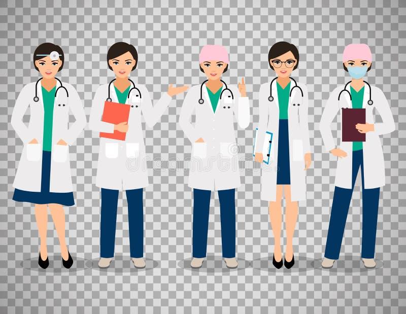 Doctores de sexo femenino en fondo transparente stock de ilustración