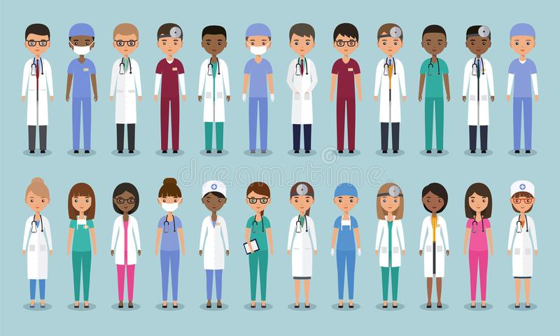 Doctores en diseño plano Caracteres médicos animados Illu del vector libre illustration