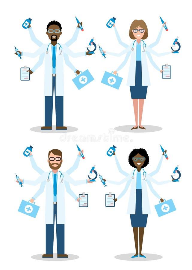 Doctores multiculturales de Multitaskig ilustración del vector