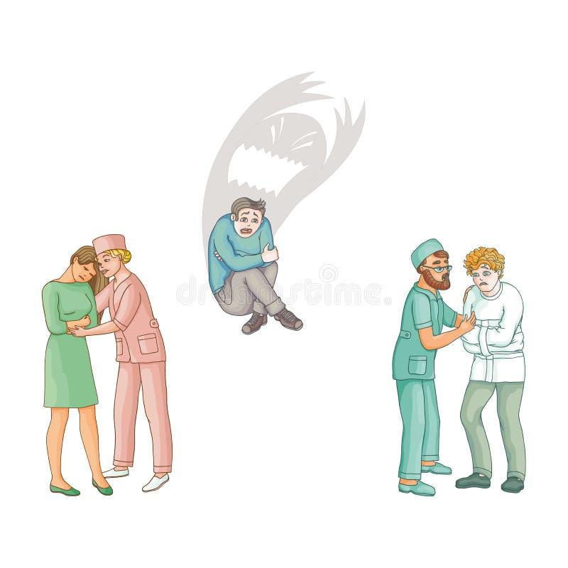 Doctores planos del vector que calman abajo a los pacientes fijados stock de ilustración