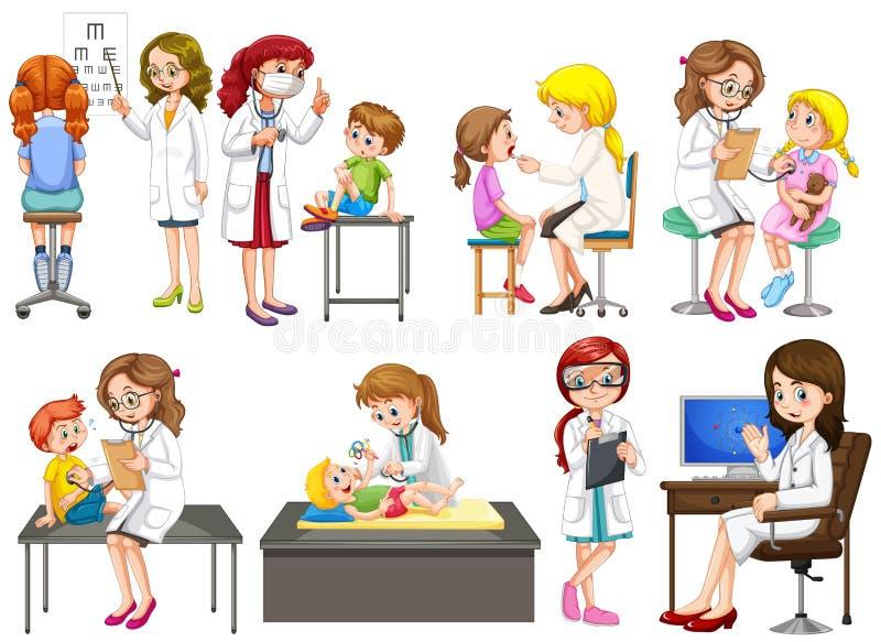 Doctores y paciente en la clínica libre illustration