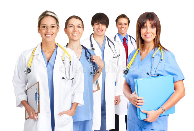 doctors att le för läkarundersökning royaltyfria bilder