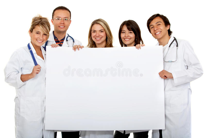 Doctors with a banner