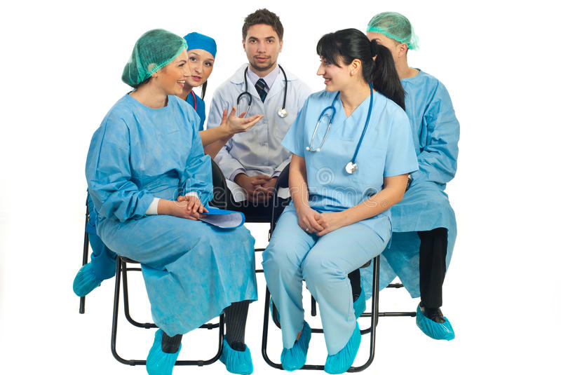 Download Doctors Conversation On Chairs Stock Image - Image: 18016853