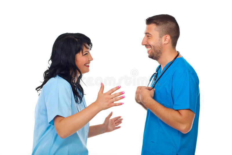 Doctors funny conversation royalty free stock photos