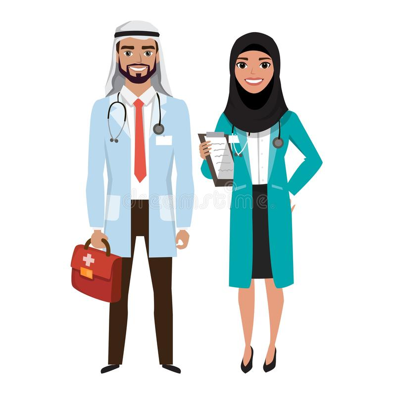 Doctors group. Friendly arab Male and Female Doctors. Vector illustration of cartoon characters royalty free illustration