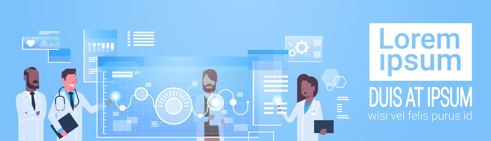 Doctors Group Use Virtual Computer Interface Innovation Technology Concept Modern Medical Treatment. Flat Vector Illustration royalty free illustration
