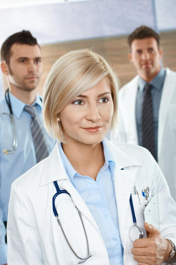 Doctors on hospital corridor royalty free stock photography