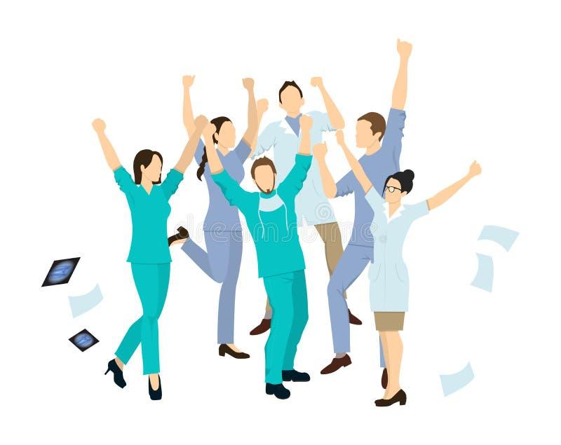 Doctors jump in joy. stock illustration